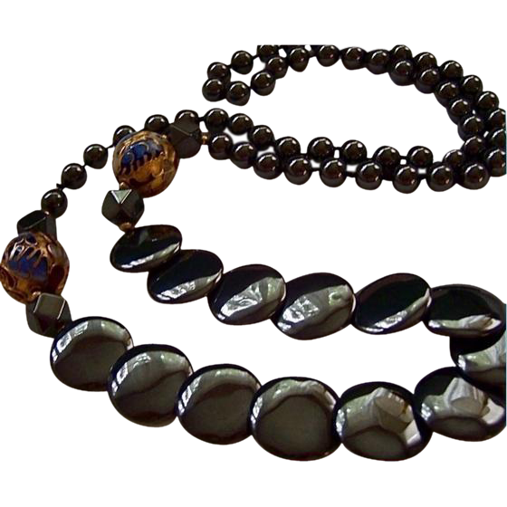 high end hematite gold plated cloisonne disc beaded necklace