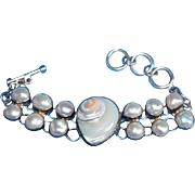 SALE Chunky 950 Silver Mother-of-Pearl & Shell Link Bracelet