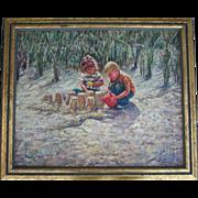 SALE William A. Drake (1891 - 1964) Oil Painting Children Building Sandcastles
