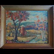 SALE Mid-Century Autumn Landscape Oil Painting Signed Decamp