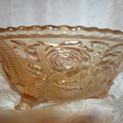 Roses~ Imperial Glass Carnival Glass Lustre Footed Fruit Bowl Clam Broth Color