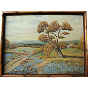 SALE Vintage Texas Bluebonnet Original Oil Painting Landscape in Bamboo Frame