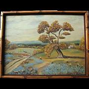 SALE Vintage Texas Bluebonnet Original Oil Painting Landscape in Bamboo Frame