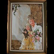 SALE Huge Mother Daughter & Teddy Bear Mid Century Oil Painting Portrait