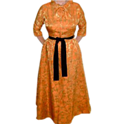 Vintage '50's Floral Brocade Gown Dress for Evening Size 8