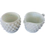 Milk Glass Fenton Hobnail Cream and Sugar Set