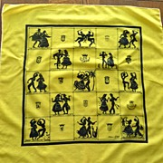 Spain Towns Bright Yellow and Black M. Dali Scarf