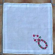 Cocktail Size Christmas Wreath Handkerchief