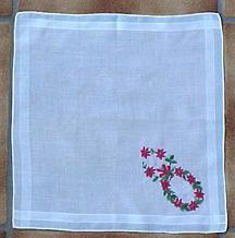 Cocktail Size Christmas Wreath Handkerchief