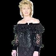 SALE Neiman Marcus After Five Black Sequin Top Elegant