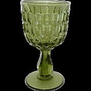 Fenton Green Thumbprint Water Goblet