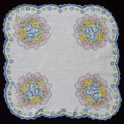Round Scalloped Corners Blue Trim Bouquet Handkerchief Hanky