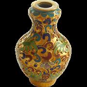 Gold Tone Cloisonné Miniature Chinese Vase