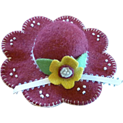 Small Vintage Felt Maroon Pin Cushion Hat