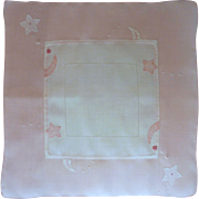 Pink and White Linen Handkerchief Hanky