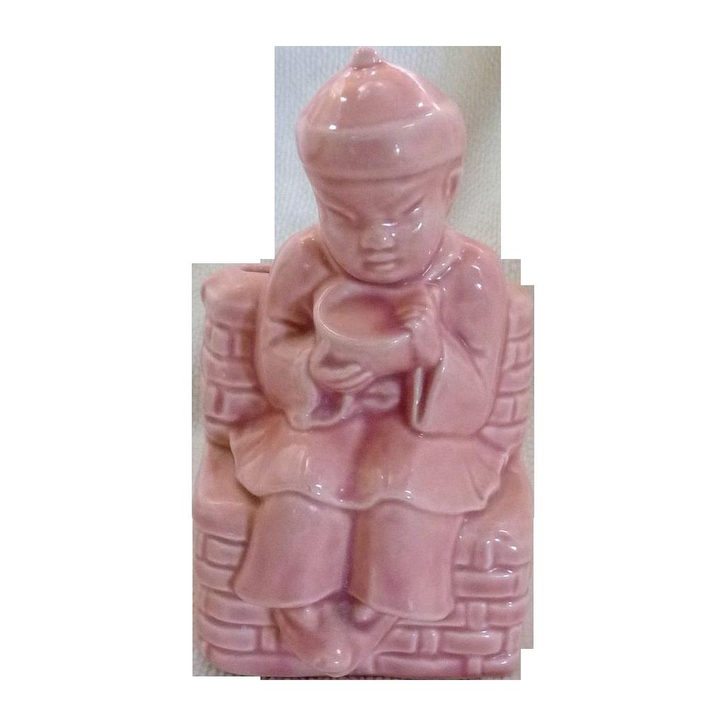 Pink Asian China Boy Ceramic Planter