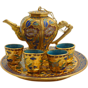 SOLD Charming Miniature Chinese Cloisonne Tea Pot, Cups and Tray - Red Tag Sale Item