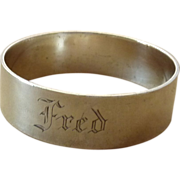 Vintage Silver Plated Napkin Ring Engraved Fred