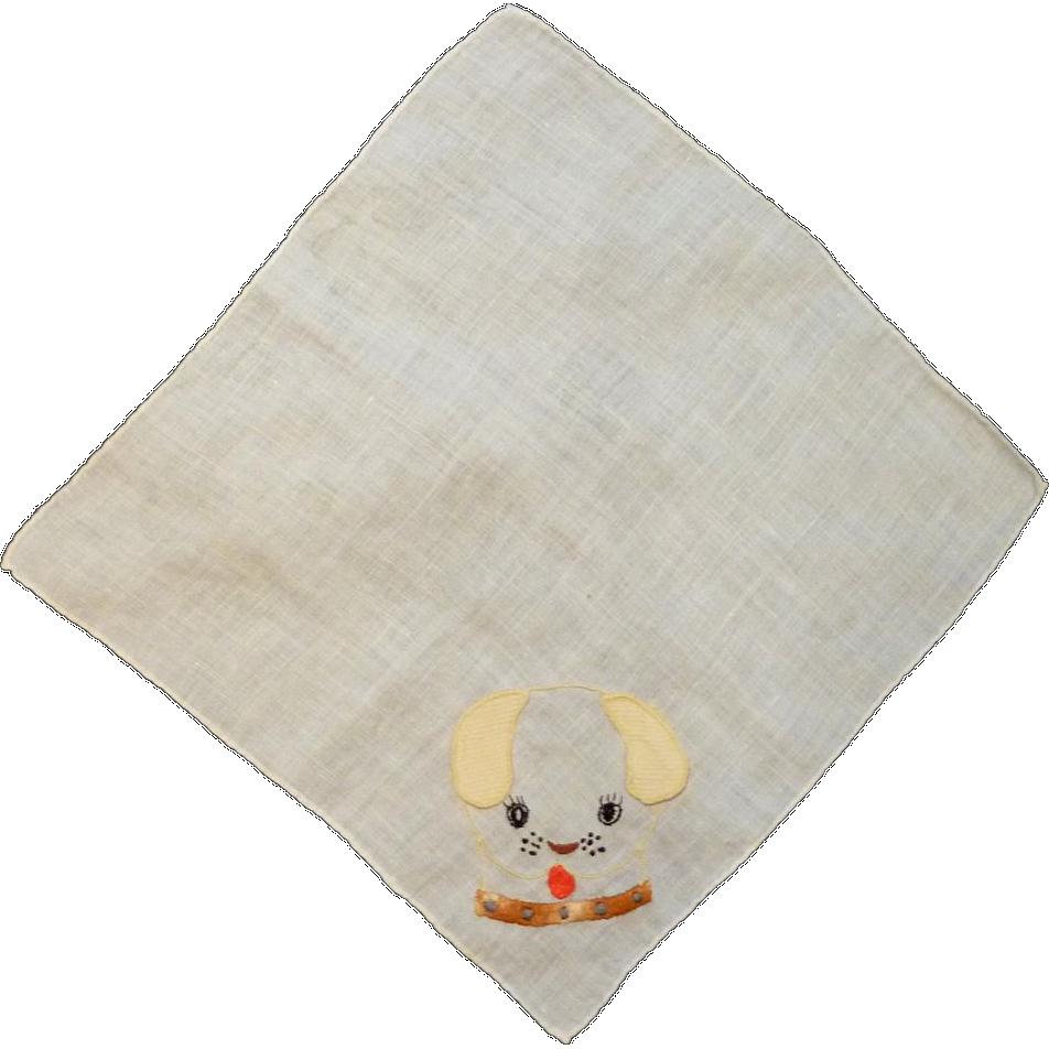 Puppy Dog Appliqué and Embroider Handkerchief Hanky