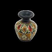SALE Black Miniature Hand Painted Pottery Urn Vase