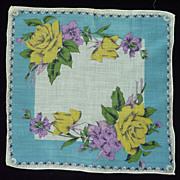 Yellow Roses and Fuchsia Flowers Aqua Handkerchief
