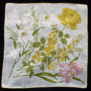 Yellow Rose White Lilies Pink Orchid on White Handkerchief