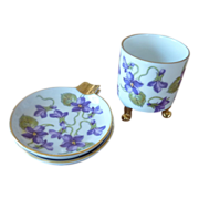 Cigarette Holder and Ashtray by Mitterteich Purple Violets