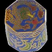Blue Eight Sided Cloisonne Miniature  Keepsake Cylinder Box