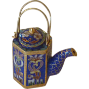 Chinese Cloisonné Coffee Pot with Wire Handles