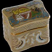 Tan Cloisonne Miniiture Keepsake Rectangular Box