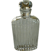 Ribbed Glass Flask Bottle with Glass Stopper