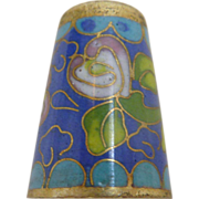 Royal Blue Flower Cloisonne Sewing Thimble