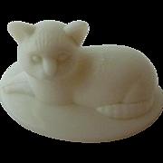 Westmoreland Milk Glass Cat on Basket Lid