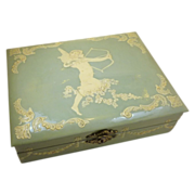 Light Green 1920's Celluloid Jewelry Box with Cupid