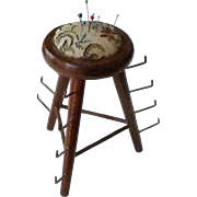 SOLD Pin Cushion and  Wood Spool Thread Holder