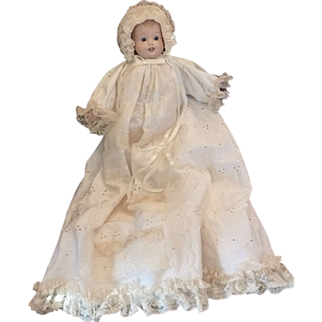 Christening Dress with Baby Porcelain Doll  1982