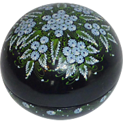 Round Paper Mache Trinket Black Lacquered Box