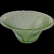 Green Depression Glass Bowl Princess Pattern