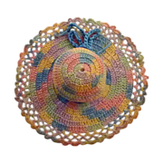Multicolored Crochet Sun Bonnet Pin Cushion