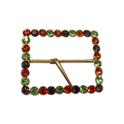 1970's Gold Tone Colorful Rhinestone Scarf / Belt Buckle