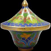 Cloisonné Miniature Blue Trinket Keepsake Pot