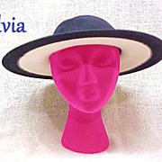 Vintage Ladies Hat by Sylvia Broad Brim Off White & Navy Blue Wool 1980s Designer
