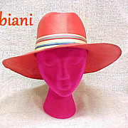 Straw Hat Fabiani New York Broad Brim Tangelo Orange Multi-Color Band Vintage 1960s Designer
