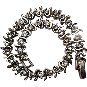 Rhinestone Tennis Bracelet 24K Gold Plated Vintage Jewelry