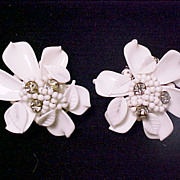 Earrings White Milk Poured Glass Flower Motif  Rhinestones Japan Signed Vintage
