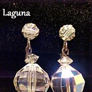 Laguna Earrings Dangle or Drop Crystal Aurora Borealis Vintage Pre-1955