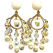 Marvella  Earrings Aurora Borealis Crystals Milk Glass Beads Signed Designer Vintage