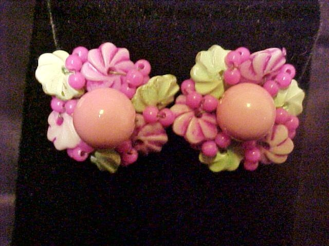 Earrings Hong Kong Pink Green Floral Signed Vintage Jewelry