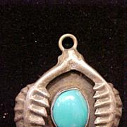 SALE Pendant Turquoise Sterling Silver Native American Vintage 3 D Design