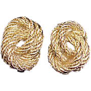 Christian Dior Earrings Classic Golden Knot Oval Clips Signed Vintage Designer